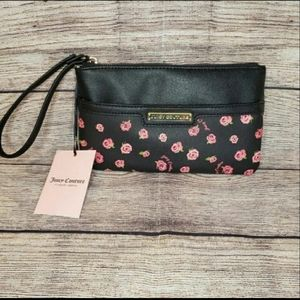 Juicy Couture black disty rose wristlet wallet